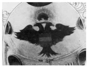 "El águila bicéfala decorando el morro del ""Jesús del Gran Poder"" (fuente: Ejército del Aire)"