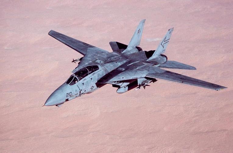 En este F-14 de la US Navy pueden verse claramente las alas extendidas en posición de baja velocidad (Fuente: www.fas.com)