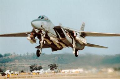 F-14 de la Us Navy en Takeoff. Además de las alas extendidas en ángulo máximo, pueden verse los misiles Phoenix que porta. El avión podía transportar hasta seis de estos ingenios (Fuente: www.grummanpark.org)