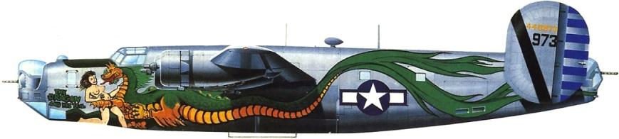 """Quizá uno de los aviones más espectacularmente iluminados de la Segunda Guerra Mundial fuera este B-24J, n/s 44-40973, bautizado como """"The Dragon and His Tail"""" basado en Okinawa en 1945."""