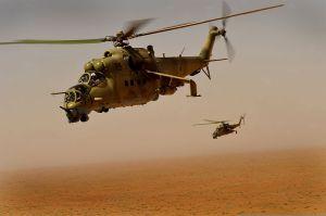 Mil Mi-24V en misión de patrulla en Afganistán. Los Hind solían operar en pareja para darse protección mutua (Fuente: kvnonews.com)