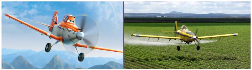 Nuestro valiente protagonista: el fumigador Dusty Crophopper. A la derecha, un AT-502 en plena faena de fumigación (fuente: Disney)