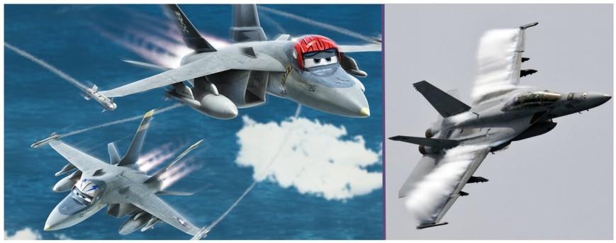 Bravo y Echo posan junto a la versión biplaza de este magnífico cazabombardero, la F/A18F SuperHornet (Fuente: Disney)