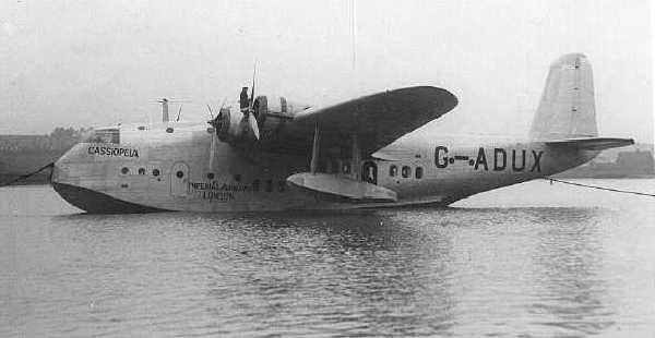 """El S.23 Casiopea. Todos los Empire Boats fueron bautizados con nombres iniciados en C, de ahí su denominación como """"C Class"""". Este ejemplar se estrelló en Filipinas en 1941 (fuente: baaa-acro.com)"""