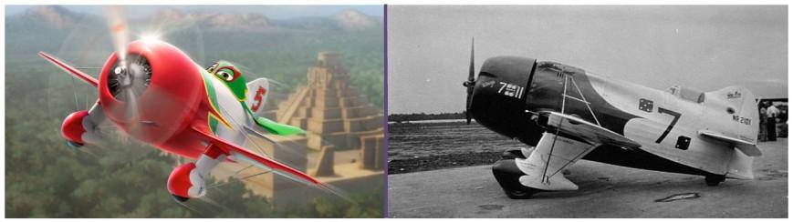 El simpático Chupacabra muestra su similitud con El Gee Bee Model R-1, que ganó la Thompson Trophy de 1932 pilotado por Jimmy Doolittle (Fuente: Disney)