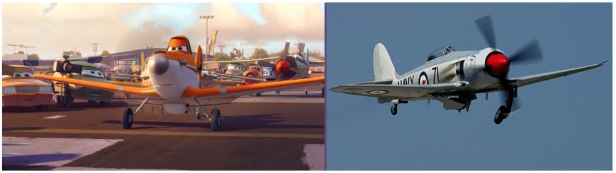En el ángulo superior derecho de la foto animada vemos, observando a Dusty, al Hawker Sea Fury, un elegante cazabombardero de la Royal Navy que llegó raspando a la Segunda Guerra Mundial. Llevaba un enorme radial Bristol Centaurus (Fuente: Disney)