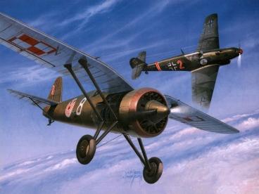 Un PZL P.11c enfrentado a un Messerschmitt Bf 109B. Dos generaciones de cazas.