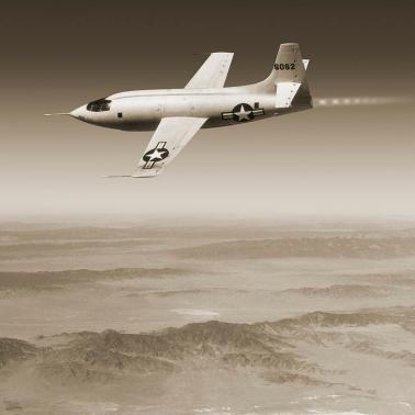 Primero de los prototipos matriculados (46-062) X-1 en pleno vuelo