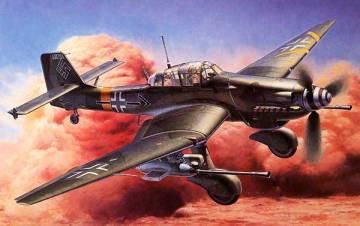 """Hermosa recreación pictórica de uno de los famosos Junkers Ju 87G-1 """"Stuka-cañón"""""""