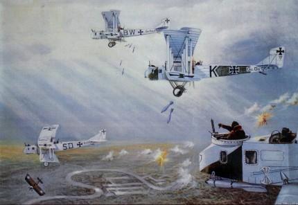 Formación de Gotha G.IV bombardeando Londres en un raid de 1917