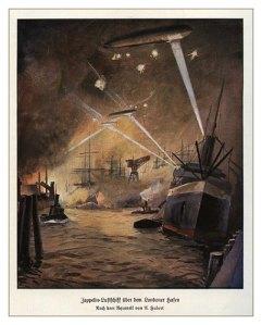 Antigua estampa con la representación de los temibles zeppelines atacando Londres. El primer ataque a la capital se producjo en la madrugada del 1 de junio de 1915